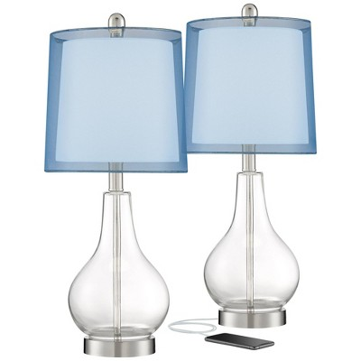 360 lighting modern accent table lamps set of 2 with usb charging port clear glass blue drum shade for living room bedroom office