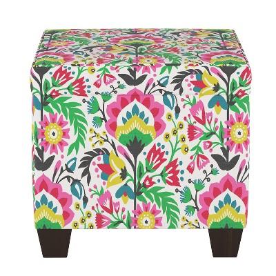 pattern fairland square storage ottoman bright floral threshold