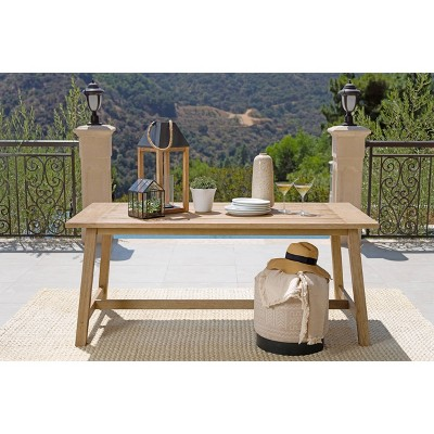 sierra outdoor eucalyptus wood rectangular outdoor dining table light brown coaster
