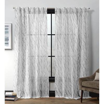 set of 2 84 x54 oakdale motif textured linen hidden tab top sheer curtain panel dove gray exclusive home