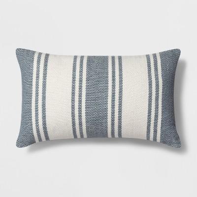 blue stripes decorative lumbar pillow