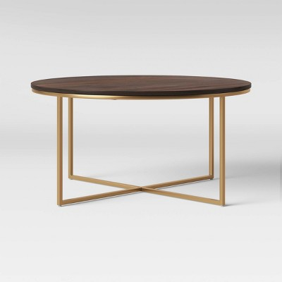dale round wood coffee table with brass base coffee brown project 62