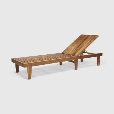 nadine wood patio chaise lounge chair teak christopher knight home