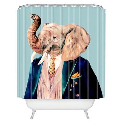 mr elephant shower curtain pastel blue deny designs