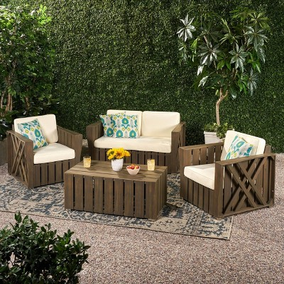 cadence 4pc acacia wood patio chat set with cushions gray christopher knight home