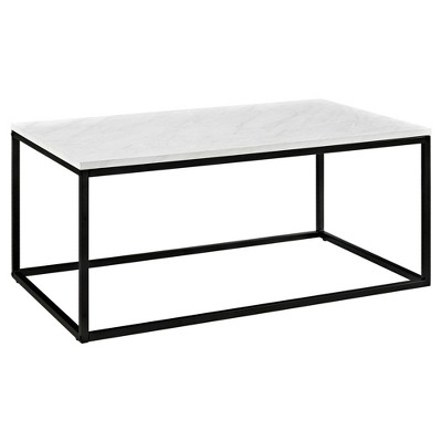 urban open box frame coffee table with faux marble and metal white saracina home