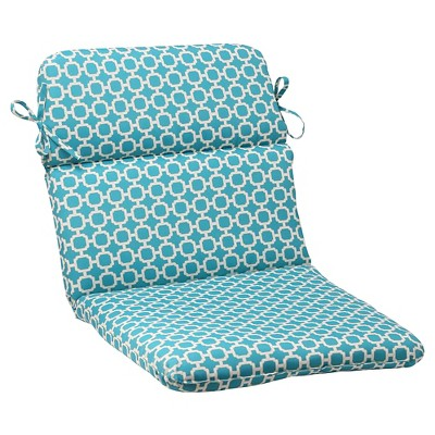 outdoor rounded chair cushion teal white geometric