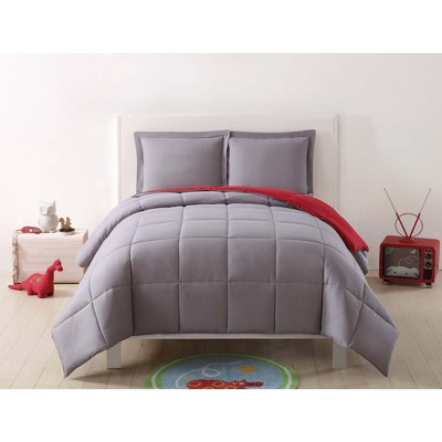 full queen anytime solid comforter set gray red my world
