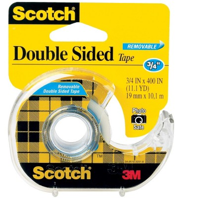 scotch 665 removable double sided tape 0 75 x 400 inches clear