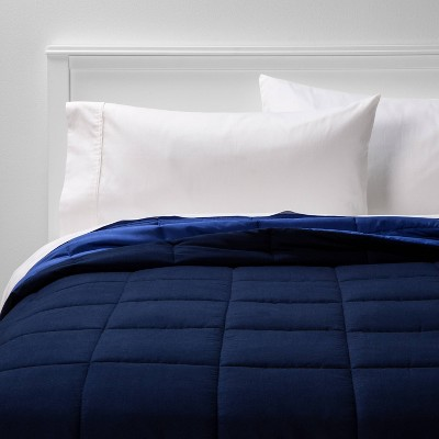 full queen reversible microfiber solid comforter navy blue room essentials