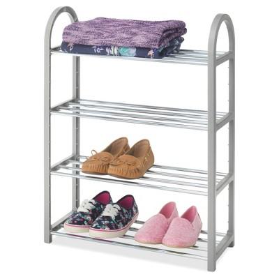 whitmor 4 tier compact shoe rack gray