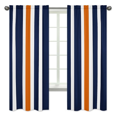 navy orange stripe curtain panels sweet jojo designs