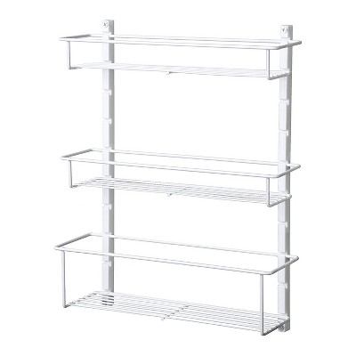 closetmaid adjustable 3 shelf spice rack organizer kitchen pantry storage for cabinet door or wall mount with metal shelves white