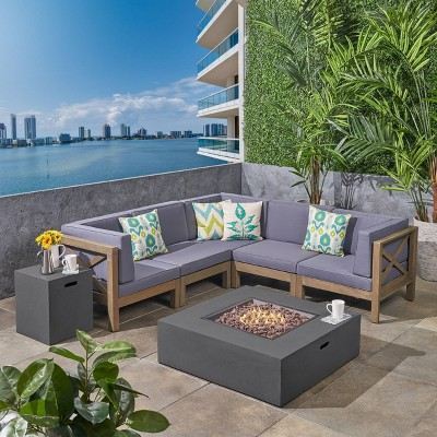 7pc brava acacia patio sectional sofa set with fire pit gray christopher knight home