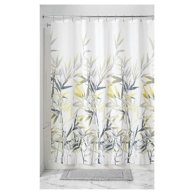 leaf shower curtain yellow gray idesign