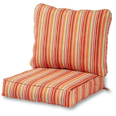 2pc watermelon stripe outdoor deep seat cushion set kensington garden