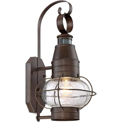 john timberland nautical outdoor light fixture oil rubbed bronze lantern 19 3 4 clear seedy glass motion security sensor for porch patio