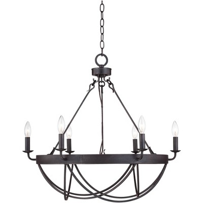 franklin iron works oil rubbed bronze chandelier 28 wide rustic farmhouse candelabra 6 light fixture dining room house kitchen