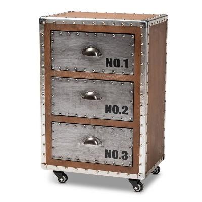 3 drawer avere wood metal rolling nightstand sliver baxton studio