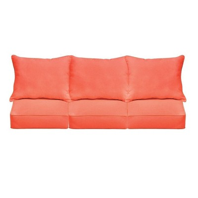 sunbrella outdoor seat cushion melon coral