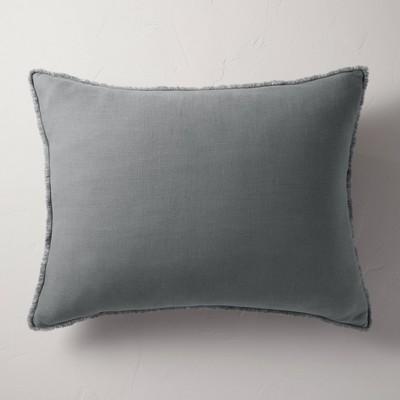 king euro heavyweight linen blend throw pillow dark gray casaluna