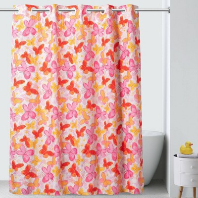 71 x74 flutter shower curtain with peva liner pink hookless