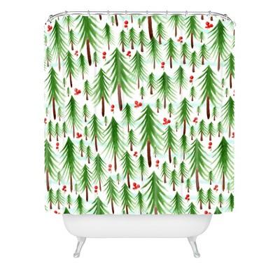 christmas tree farm shower curtain green deny designs