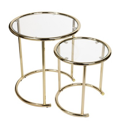 set of 2 nested round end tables clear glass and gold danya b