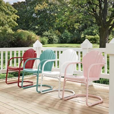 2pc tulip retro metal chair pink crosley