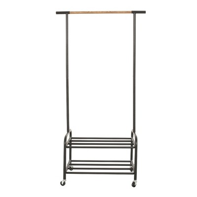 metal rolling clothing garment rack on wheels with 2 tier storage shelves freestanding closet in black