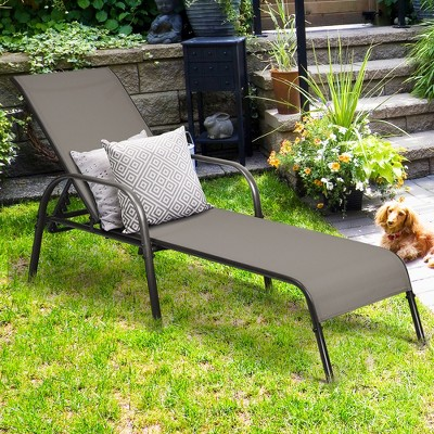 costway outdoor patio lounge chair chaise fabric adjustable reclining armrest pool brown