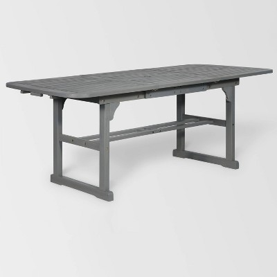 ravenscroft modern boho acacia wood slat top rectangle extendable outdoor table gray wash saracina home