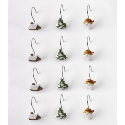 lakeside winter gnome shower curtain hooks set of 12 holiday bathroom accent