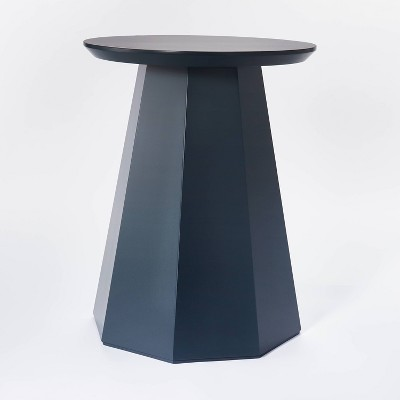 daffan faceted round accent table blue threshold designed with studio mcgee