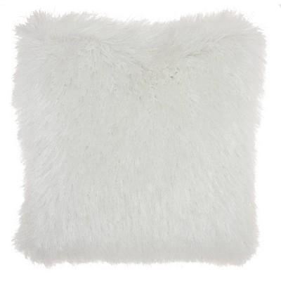 17 x17 yarn shimmer shag square throw pillow white mina victory
