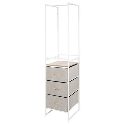 mdesign closet storage unit with 3 drawers rack linen natural