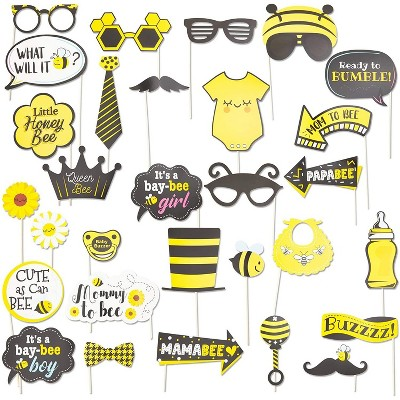 sparkle and bash 30 pack bumblebee photo booth props kit honey bee theme selfie props for baby shower birthday party