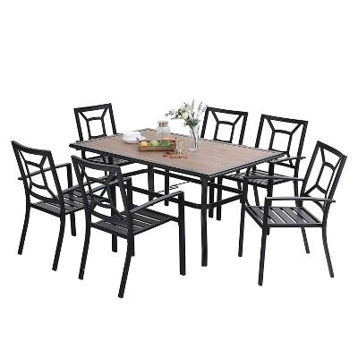 7pc patio dining set with rectangular faux wood table with umbrella hole chairs captiva designs