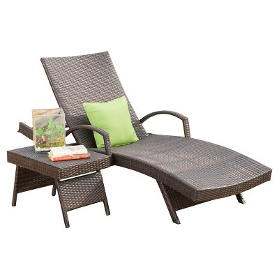 salem 2 piece wicker adjustable chaise lounge with arms and table brown christopher knight home