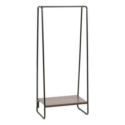 iris garment rack with wood shelf black