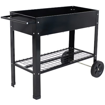 sunnydaze outdoor galvanized steel raised garden bed cart with handlebar and wheels for patio deck or yard 41 l black