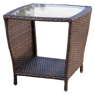 weston wicker with glass top patio side table multi brown christopher knight home