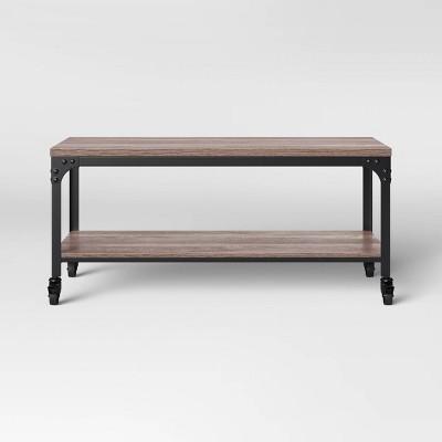 jackman industrial wood coffee table brown threshold