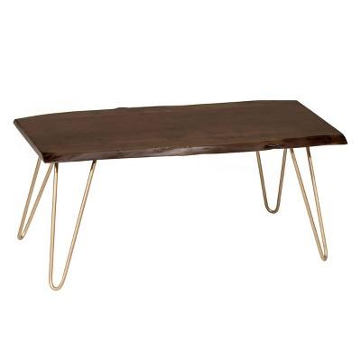 langdon live edge coffee table bench elm gold carolina chair table