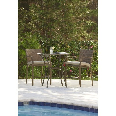 3pc lakewood ranch steel woven wicker outdoor high top bistro patio furniture set with cushions brown room joy