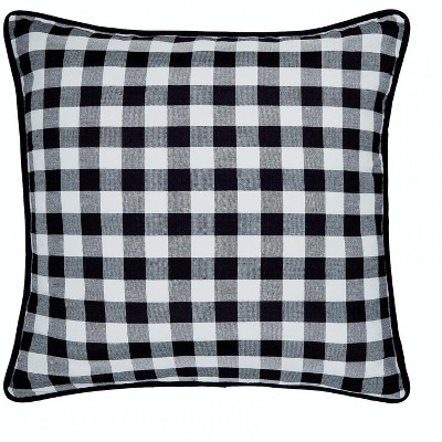kate aurora 2 pack country farmhouse buffalo plaid zippered pillow covers 18 in w x 18 in l black