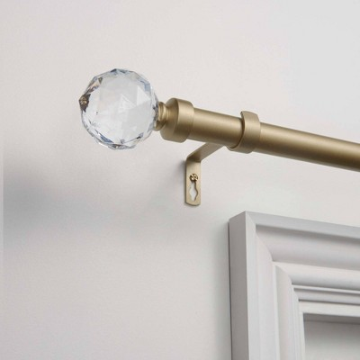 36 72 crystal ball adjustable curtain rod and coordinating finial set gold exclusive home