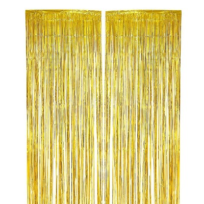 blue panda gold foil fringe curtains metallic tinsel backdrop for party decorations 3 x 8 ft 2 pack