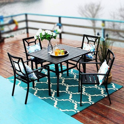 5pc patio dining table chairs black captiva designs