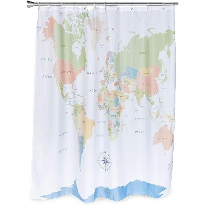 world map shower curtain set with 12 hooks for bathroom 70 x 71 inches